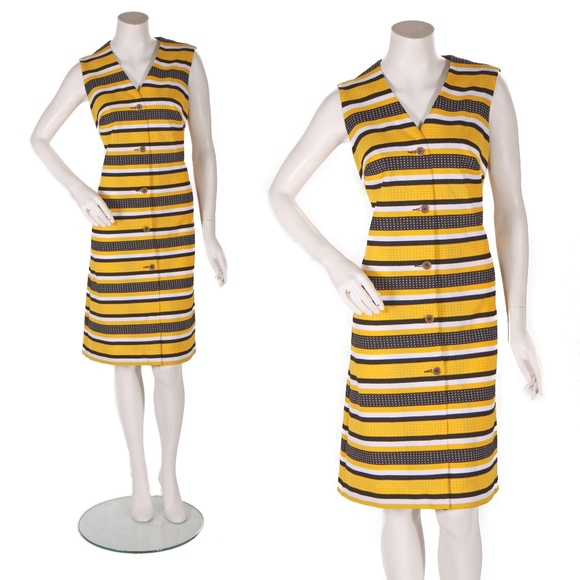 6bf0ff0ea724 Gay Gibson Dresses | 1960s Yellow Black And White Striped Polka ...